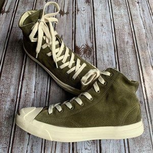 Converse Jack Purcell Suede Mid Olive Sneakers